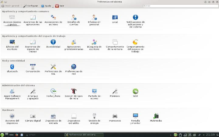 Preferencias del sistema en KDE