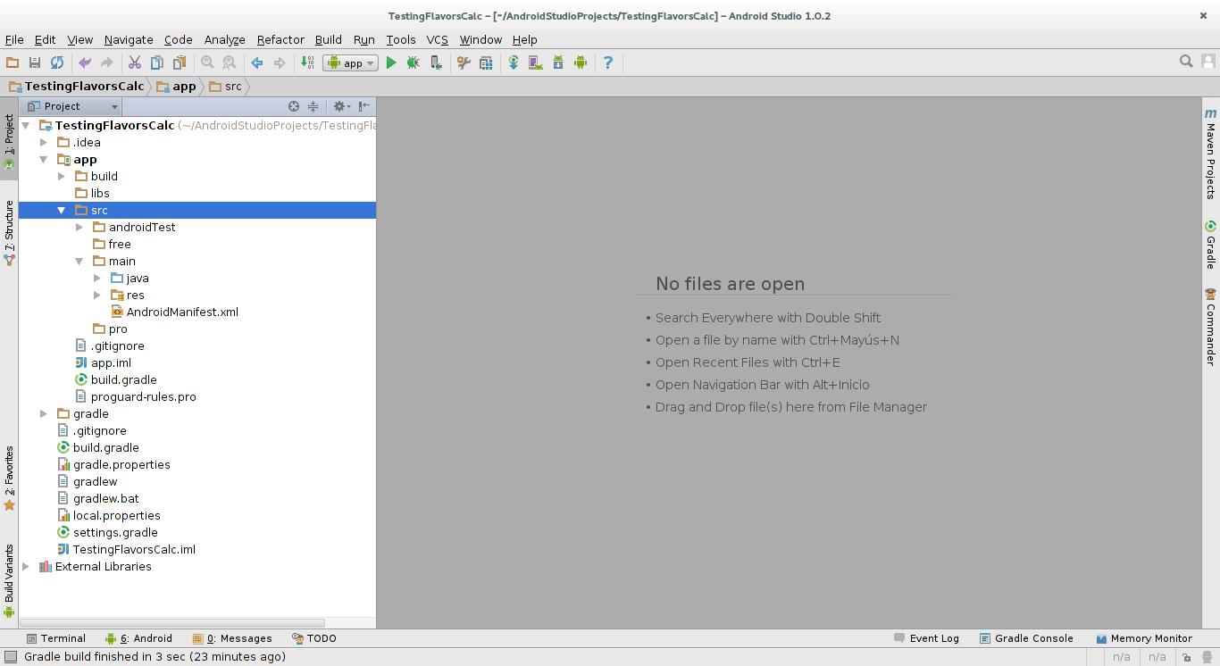 Árbol del proyecto con los ficheros creados hasta ahora