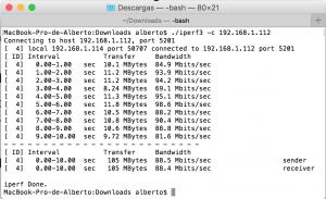 Iperf Mac OS (Cliente)